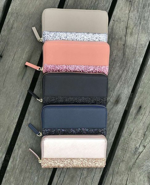 Diseñador de la marca carteras con brillo que brillan nueva cremallera cluth bolsa 5 colores que brillan para las mujeres monedero