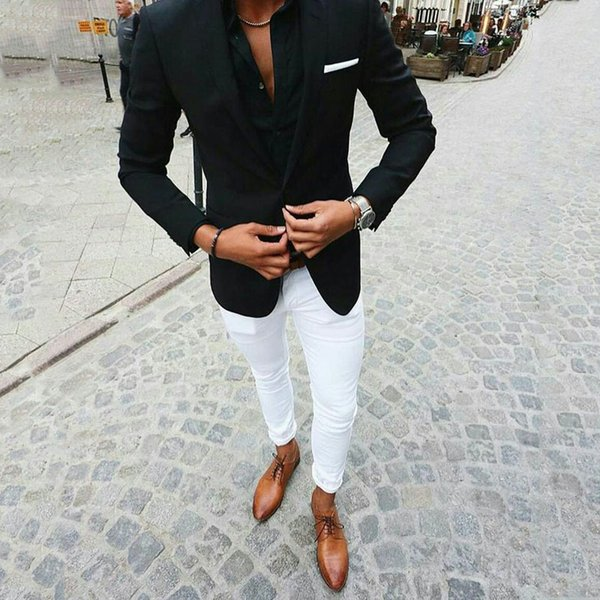 Men Black Suits for Beach Wedding Groom Tuxedos White Pants Two Pieces Groomsmen Wear Slim Fit Men Suits Prom Party (Jacket+Pants)