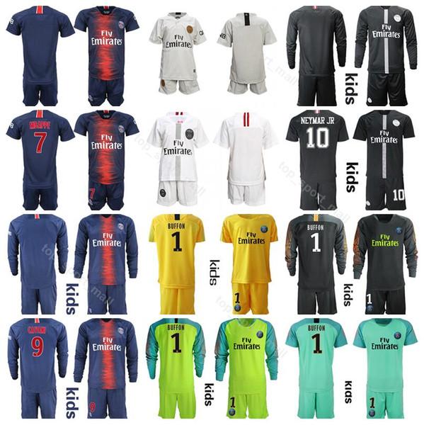 Juvenil 2019 Ligue 1 Fútbol París Saint Germain DI MARIA Jersey PSG Kids MBAPPE CAVANI SILVA Kits de fútbol Equipo infantil Azul Nombre personalizado