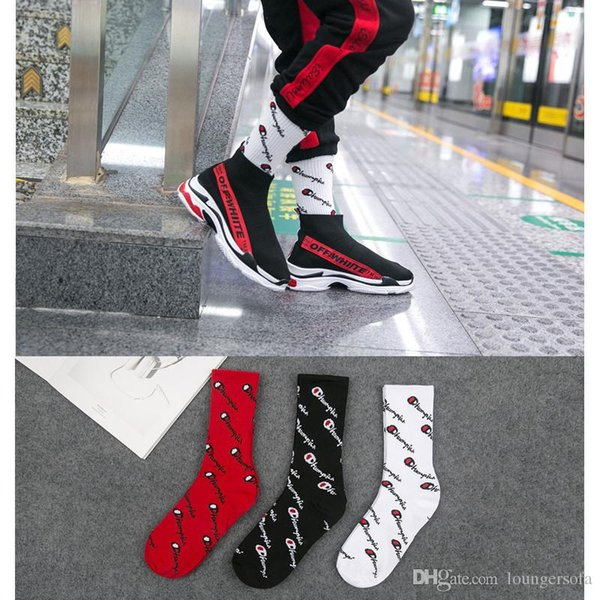 3 colores Champion Stockings Letter Print Sport Calcetines largos Fit Outdoor Man Street Fashion Wear Sock Color sólido 4 3zw E1