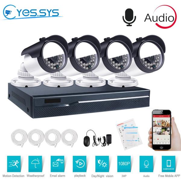 eyessys 4PCS 1080P 2MP Audio IP Camera 4CH 4.0MP POE NVR IP IR-CUT outdoor CCTV Camera Security System video Surveillance Kit