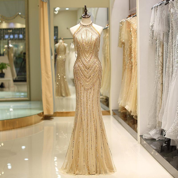 2019 Real Image Gold Mermaid Evening Dresses Luxury Beaded Sequins Formal Prom Party Dress Designer Occasion Formal Wear