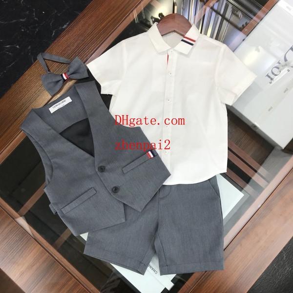 Kids outfits 3pcs Suits baby tracksuit Boys gentleman Suits Vest+Short sleeve +pants kids boutique Clothing Sets clothes