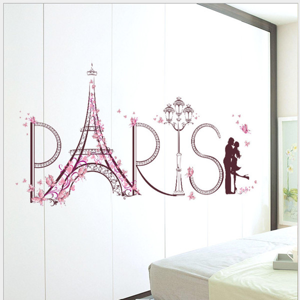 New popular romantic Paris Eiffel Tower bedroom living room decoration Removable Wall Stickers