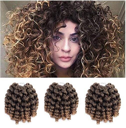 Hot Sale! 1Pcs 8 inches Crochet Jamaican Bounce Wand Curl Synthetic Braiding Hair Extension Short Curly Hair Crochet Braids for Women