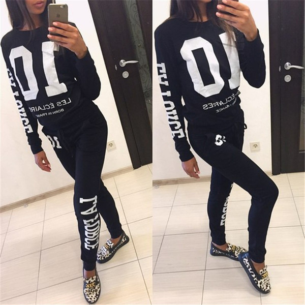 New Print Women 'S Tracksuits V -Neck Set Suits For Women Hoodies Sweatshirt For Women Long Pants Lady Female 10 Letter Print