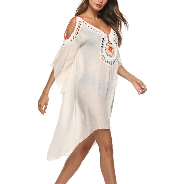 8ef3b825573 Women Bathing Suit Cover Ups Swimsuit Coverups Dress Cotton Crochet Bikini  Beach Baggy Swimwear Bikini Beach