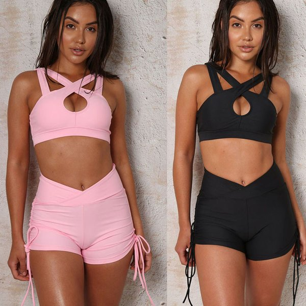 KLV 2019 TOP Summer trend women's sexy sleeveless bandage vest elastic band top + shorts 2.27