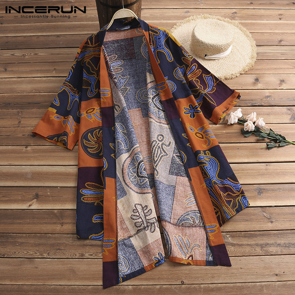 Fashion Cardigan Ethnic Mens Trench Cloak Half Sleeve Shirts Tops Harajuku Kimono Hombre Vintage Chinese Men Clothing Chemise