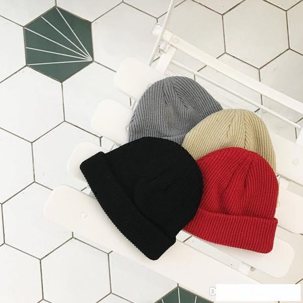 Kadın Moda Örme Cap Sonbahar Kış Erkek Pamuk Sıcak Hat Büküm Katı Renk Hip-Hop Yün Şapka A777 takkelerden