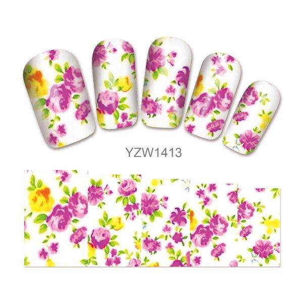 1 Sayfalık DIY Çıkartmaları Çiçek Çiviler Sanat Su Transferi Kız Çivi 1413 için Baskı Çıkartmalar Aksesuarları
