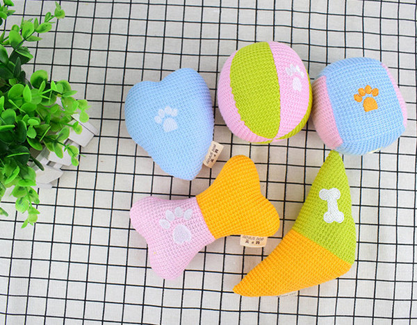 Pet dog puppy toys handmade wool knitting toys for pet playing toys with paw 10pcs/lot