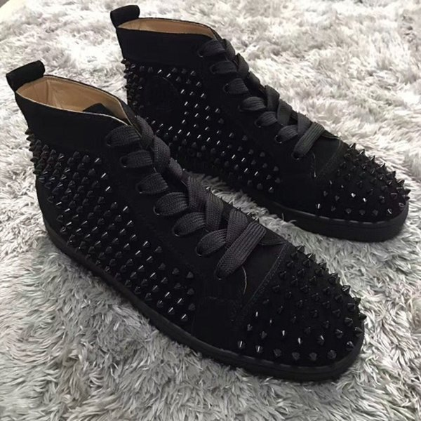 High Wsf483 Top/spikes/lace Up/red Sole Sneakers Flat Studded Dress Party Red Bottom Luxury Men Outdoor Casual Leisure Flats