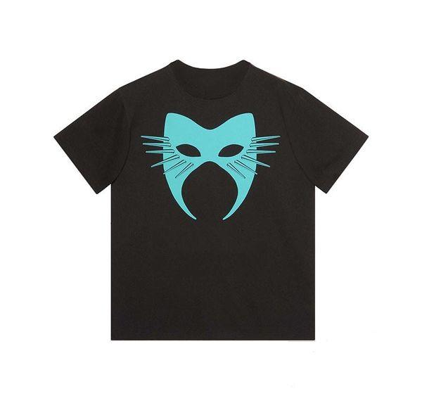 Para hombre de lujo diseñador de la camiseta Máscara Hombres Mujeres camiseta del verano de Hip Hop Negro manga corta blanca S-2XL