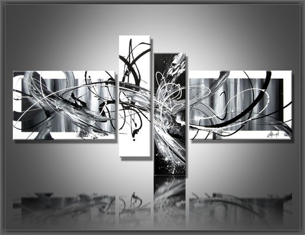 Modern Multi Piece 4 pcs/set Canvas Art Abstract Oil Painting Black And White Wall Hand-Painted Pictures Office Decoration