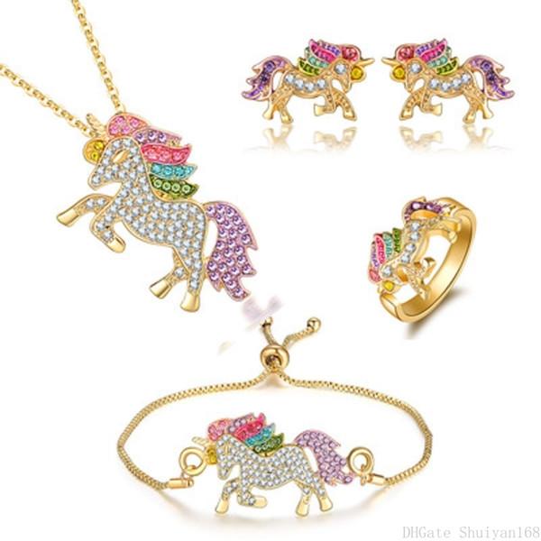 Renkli Unicorn Kakma Zirkon Bildirimi Takı Seti Kolye Kolye Charm Bilezik Küpe Yüzük Kadın Kız Noel Hediyeleri için Setleri