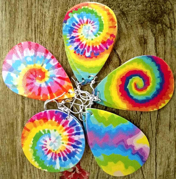 best selling 2020 new tie dye rainbow colorful faux leather drop earrings