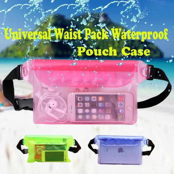 Para el paquete de la cintura universal Funda impermeable de la bolsa Bolsa a prueba de agua Cubierta de bolsillo seca bajo el agua Para teléfonos móviles Teléfonos móviles Samsung LG iphone