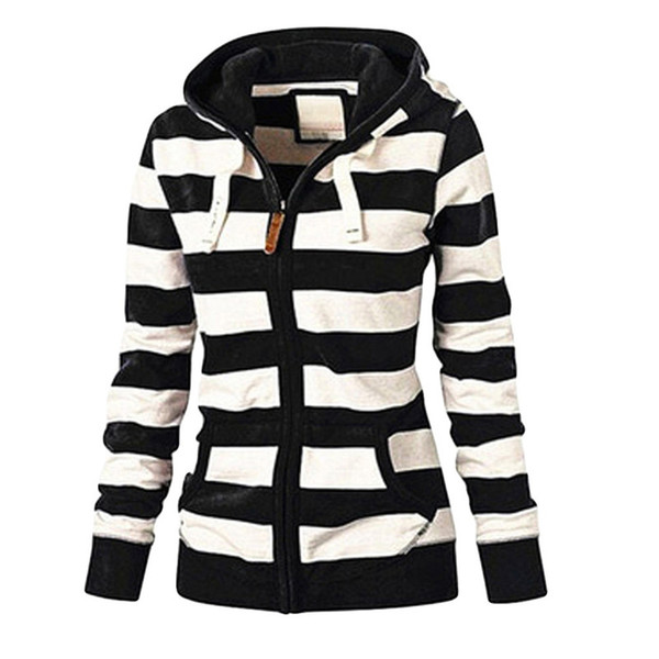 Giaccone Donna Zipper Hooded Tops Felpa a righe Coat Plus Size Nuovo rivestimento casuale cappotto sottile Jumper Jaqueta Feminina