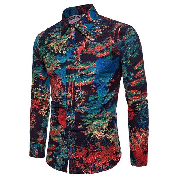 Men's long-sleeved shirt 2019 new printing square collar slimming Big code Trend Street Clothing