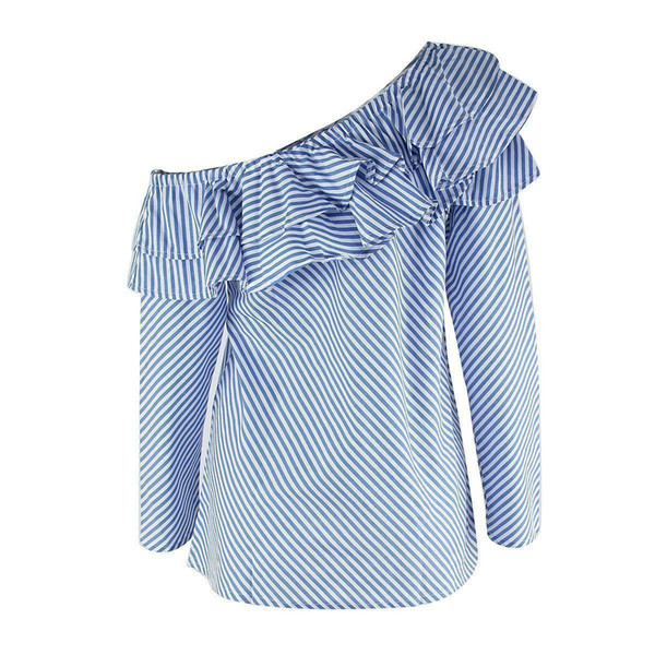 Womens Ruffle off the shoulder top Elegant striped Long Sleeve Top OL lady girls T Shirt Loose Casual Tops