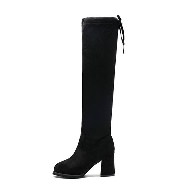 2019 Nuovi stivali alti da donna Stivali invernali da donna Tacco medio Slouch Over The Knee Tacco quadrato nero Wine Over Knee