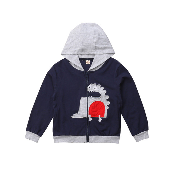1-6t Infant Kids Girl Boy Dinosaur Cartoon Hooded Hoodie Top Windproof Jacket Outerwear Fashion Cute Coat Clothes Streetwear