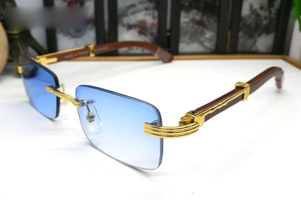 Ahşap Güneş Gözlüğü 2019 Erkekler Kadınlar için Vintage Marka Tasarımcısı Güneş Gözlüğü Marka Çerçevesiz Manda Boynuzu Gözlük Kutusu Gözlük Ile Yaz Tarzı Luxur
