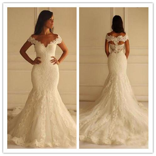 Hot-selling Mermaid wedding dresses sexy V neck sleeveless lace back long tail beautiful classic mermaid bride dresses sexy bridal gown
