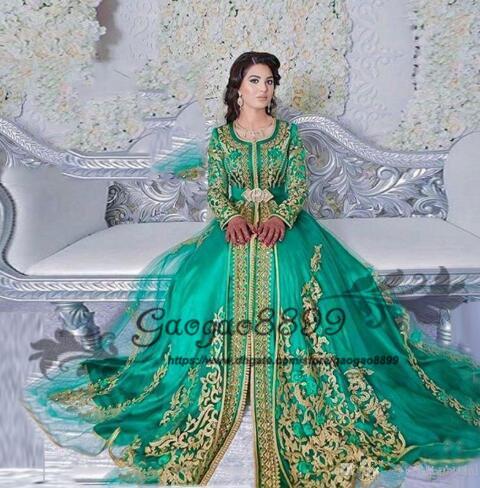 2019 Long Sleeved Emerald Green Muslim Formal Evening Dress Abaya Designs Dubai Turkish Prom Evening Dresses Gowns Moroccan Kaftan