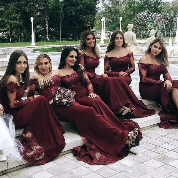 2019 Burgundy Bridesmaid Dresses Off The Shoulder Long Sleeves Mermaid  Chiffon And Lace Bateau Neck Maid Of Honor Gowns Formal Cheap Price 774d7492087f