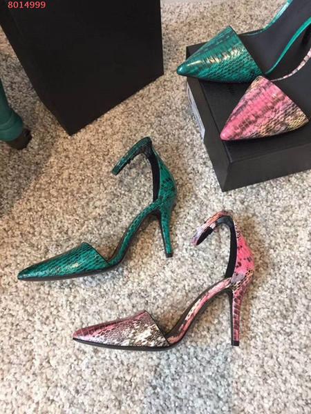Tacchi alti della pelle di serpente di personalizzazione della fascia alta del 2019 Elegante temperamento sexy alla moda eleganti sandali col tacco alto di alta qualità