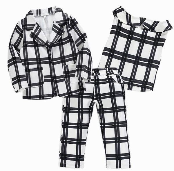 2019 chidlren girls black white big plaid coat+bosom shirt+long pant spring form 3pcs outfit suit sets B11
