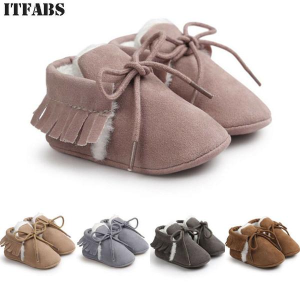 Cute Toddler Infant Baby Girls Crib Shoes Solid Soft Sole Prewalker Warm Tassel Shoes 3E18