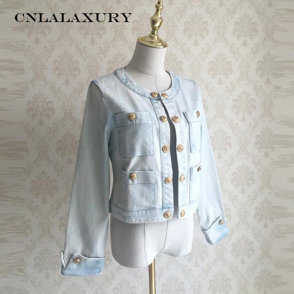 2019 Kurze Jacken Mädchen Frühling Herbst beiläufige Jeansjacke Frauen O Ansatz Halbarm-dünne Jeans-Grund Mäntel chaqueta mujer