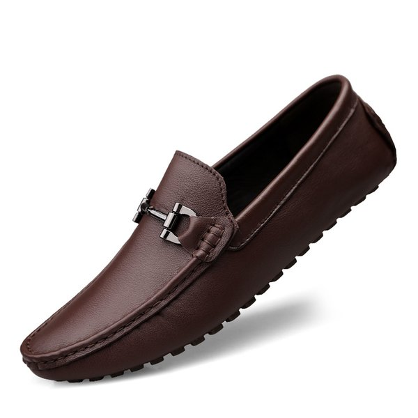 2019 New Men Soft Leather Loafers Fashion Slip on Male Casual Shoes Moccasin Flat Brown Black Man Driving Boat Shoes Plus Size
