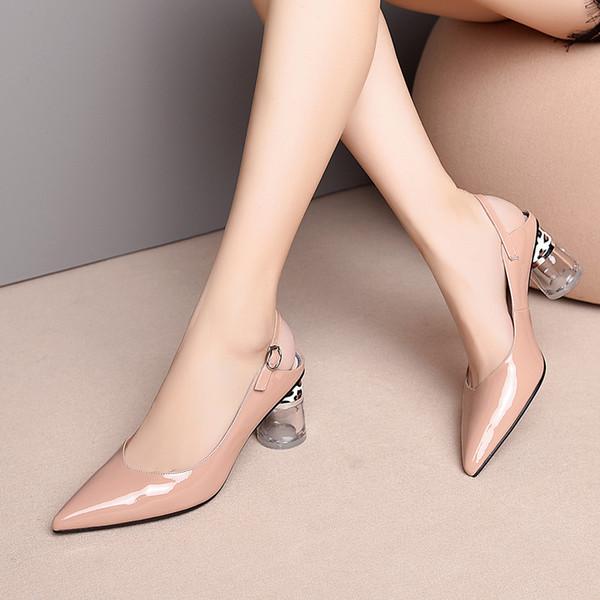 Кристалл каблук туфли на высоком каблуке туфли на высоком каблуке из натуральной кожи туфли на платформе острым носом лакированная кожа слинг назад платье партии насосы