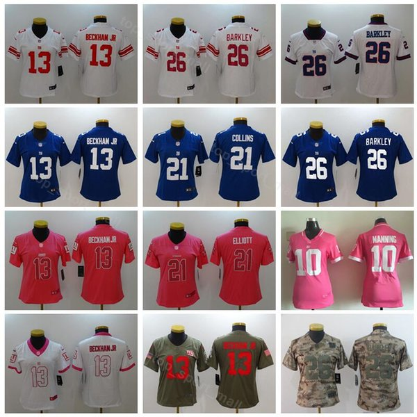 half off 0b89f 7e250 2019 Women 26 Saquon Barkley Jersey 13 Odell Beckham Jr New York Football  Giants Lady 10 Eli Manning 21 Landon Collins Blue Lady Woman From ...