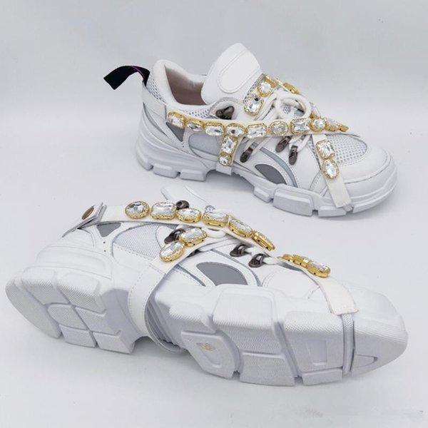 Çıkarılabilir Kristaller Ile Flashtrek Sneaker Erkek Lüks Tasarımcı Ayakkabı Rahat Moda Lüks Tasarımcı Bayan Ayakkabı Sneakers Boyutu 35-45-2