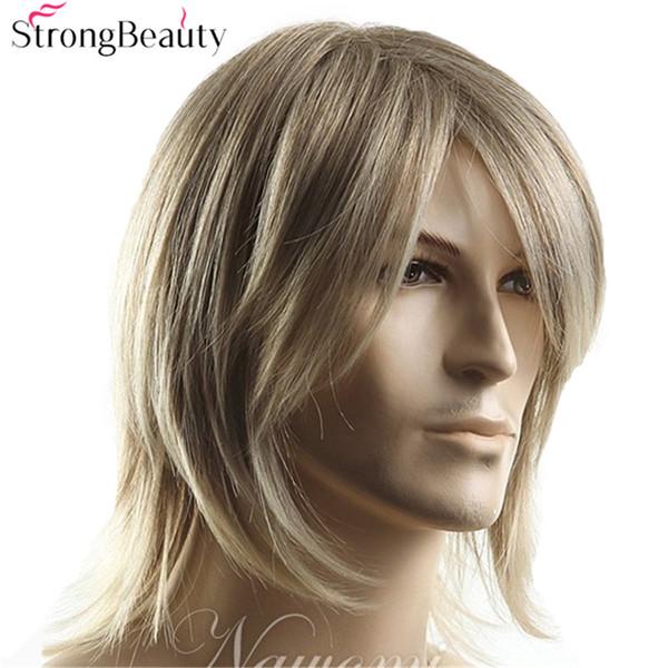 Uzun Açık Kahverengi Karışık Sarışın Düz Peruk Erkekler Için Cosplay Cadılar Bayramı Orta Sentetik Saç Peruk