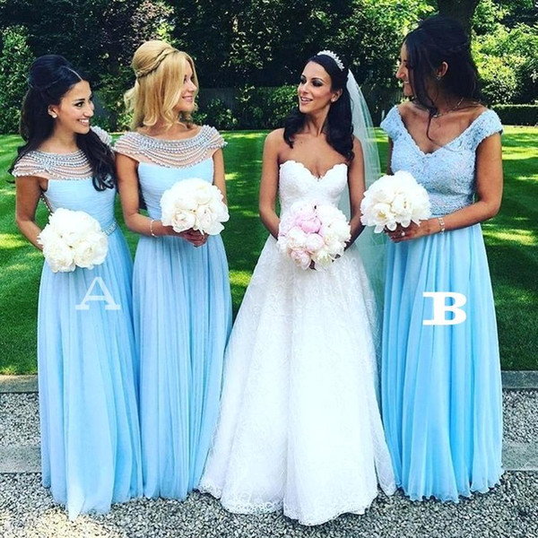 New Cap Sleeves Lace beaded Top Bridesmaid Dresses V-neck A Line Chiffon Summer Beach Plus Size Maid of the Honor Evening Gowns BC1926