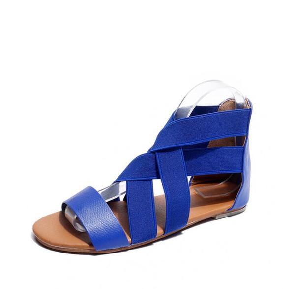 Kaufen Sie neue Frauen Sandalen Sommer Damen flache Gladiator Sandalen Anti Rutschen Strand Schuhe Peep Toe Mode lässig Wandern Alias ADF-7821