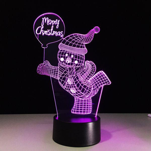 7 Color Change 3D LED Cute Christmas Light Snowman Night Light For Kids Christmas Gift Light Bedroom Decor Baby Sleep Table Lamp
