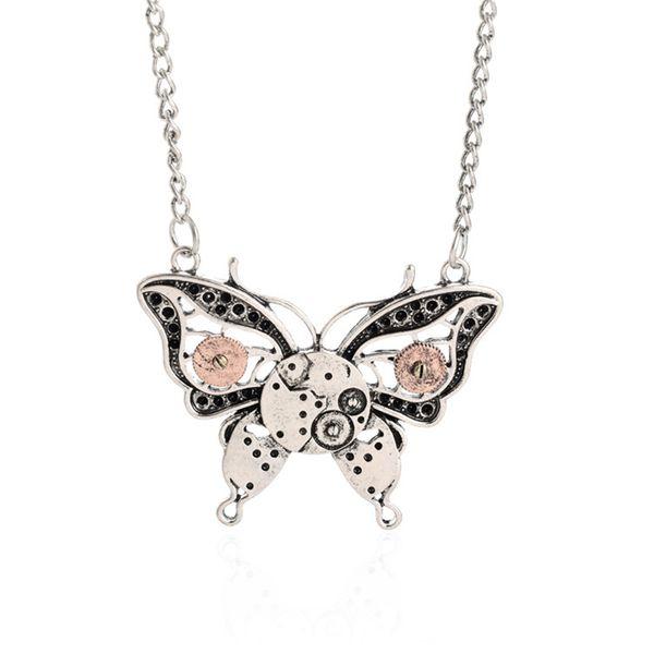 Fashion Retro Steampunk Gear Halskette Anhänger Glamour Schmuck Accessoires Geschenke Schmetterling Charme neckalce