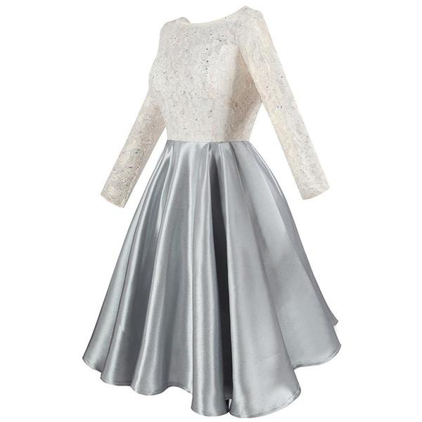 2019 Moden Frauen Perlen Floral Lace Satin Transparent Long Sleeves Short Prom Cocktailkleider Weiß Grau Sheer Party Dress