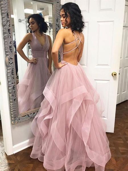 fancy dusty pink black girls prom dresses deep v neck full length tulle ruffles cross backless formal evening gown cheap slim sweet 15