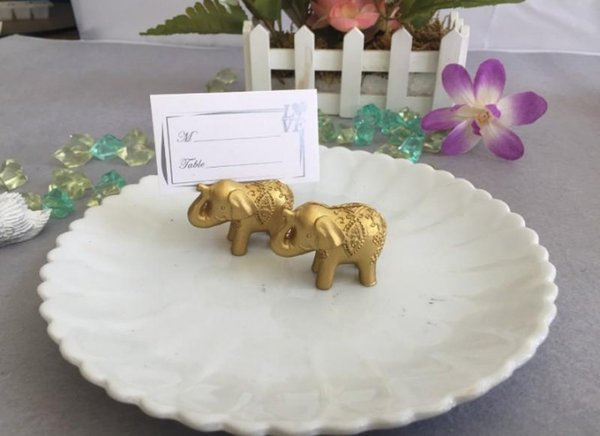 Hot Golden Lucky Elephant Place Card Holder Holders Name Number Table Place Wedding Favor Gift Unique Party Favors