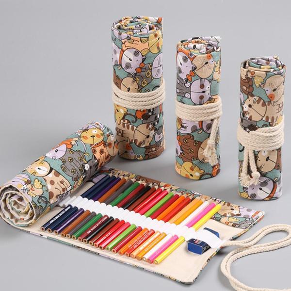 Chats mignons Cartoon école Trousse de toile Penalty 36/48/72 Trous Rouleau pencilCASE Grand Pen Sac Crayon Fournitures de bureau