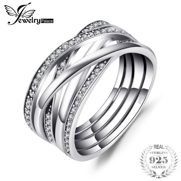 14476a0c3 Jewelrypalace 925 Sterling Silver Rings Cosmic Lines Statement Ring Wedding  Band Infinity Love Fine Jewelry Anniversary