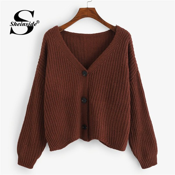 Sheinside Brown Simple Breasted Pull Cardigan Femmes Vêtements 2018 Automne Mode Femmes Chandail À Manches Longues Dames Manteaux